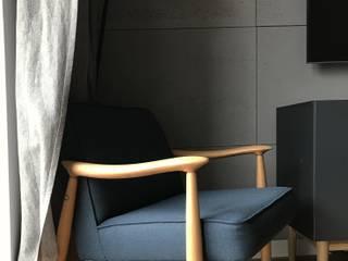 Beton architektoniczny w nowoczesnym wnętrzu Nowoczesny salon od Luxum Nowoczesny