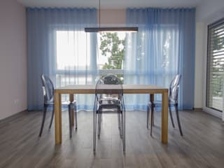 Raumkonzept, Einrichtungsplanung, Innenraumgestaltung für ein 107 qm Neubauapartment Moderne Esszimmer von BANDYOPADHYAY interior Modern