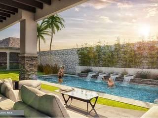 Casa en Hacienda la Paloma: Albercas de jardín de estilo  por DAMAJO Grupo Inmobiliario,