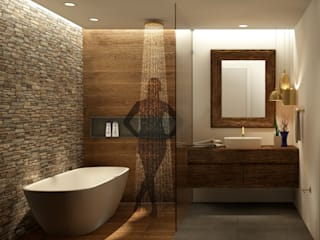 Casa de Banho Belas Clube de Campo - PT: Casas de banho  por Scopo Arquitetura e Interiores,Rústico