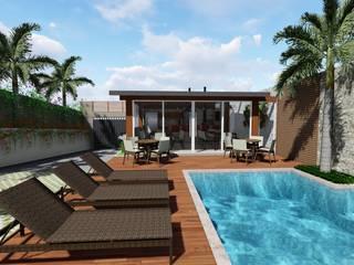 Área gourmet residencial - LM: Piscinas  por Grama Arquitetura