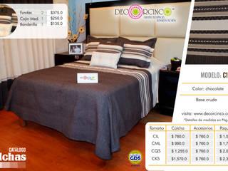 CORTINAS, COLCHAS, COJINES Y TAPIZADO DE SILLONES: Hoteles de estilo  por DECORCINCO DISEÑO ARTESANAL TEXTIL; CORTINAS, COLCHAS, COJINES, MANTELES Y COMPLEMENTOS