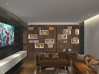 Contemporary flat interiors Modern media room by Rhythm And Emphasis Design Studio Modern