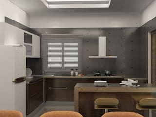 Contemporary flat interiors Modern kitchen by Rhythm And Emphasis Design Studio Modern