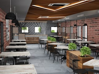 Rustic modern themed cafe interiors Modern gastronomy by Rhythm And Emphasis Design Studio Modern