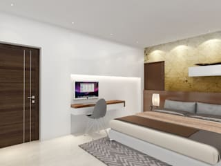 Interiors of a villa in modern contemporary style with fresh designs Modern style bedroom by Rhythm And Emphasis Design Studio Modern