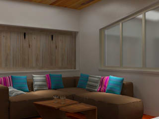 2BHK With a terrace design gardening design Modern living room by Rhythm And Emphasis Design Studio Modern