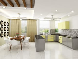 very simple and modern looking residence interiors Modern kitchen by Rhythm And Emphasis Design Studio Modern