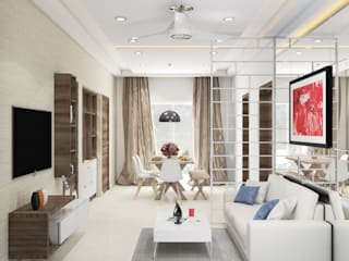 2 BHK residence interiors Modern living room by Rhythm And Emphasis Design Studio Modern