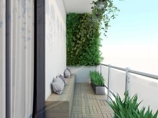 vertical gardening design in the balcony: modern  by Rhythm  And Emphasis Design Studio ,Modern