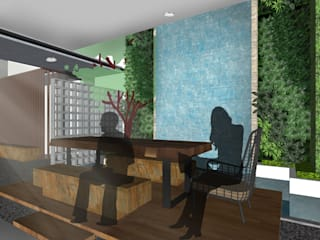 HRW House Tropical style dining room by SAE Studio (PT. Shiva Ardhyanesha Estetika) Tropical