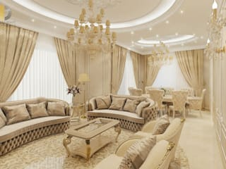 Дизайн интерьера квартиры 115 кв. м в классическом стиле: Гостиная в . Автор – Группа Компаний 'Фундамент'