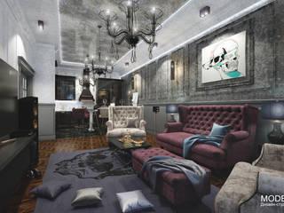 Совмещенная кухня гостиная : Гостиная в . Автор – Дизайн - студия  Modern View