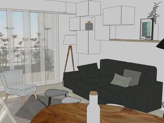 Séjour // Appartement La Garenne-Colombes: Salon de style de style Scandinave par FABRIQUE D'ESPACE