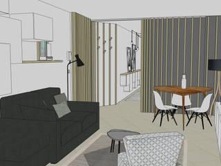 Couloir // cloison coulissante // Appartement La Garenne-Colombes: Salon de style  par FABRIQUE D'ESPACE