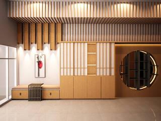interior cluster aeroworld 8 citra, cengkareng jakarta barat Livint design Ruang Keluarga Gaya Asia Kayu Lapis Beige