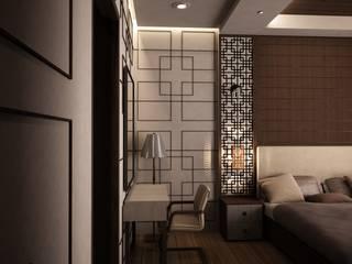 interior gaya asia jepang residence one tangerang selatan Livint design Kamar Tidur Gaya Asia Kayu Lapis Beige