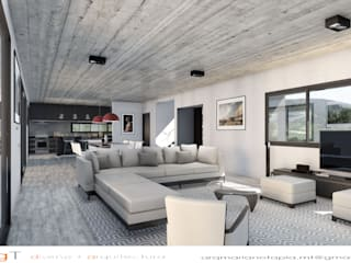 CASA TIERRA VIRGEN Salones minimalistas de mgt_Estudio de Arquitectura + Diseño Minimalista