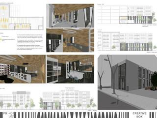 Espacio de trabajo en equipo en madera y cerámico blanco.:  de estilo  de RR Estudio Interiorismo