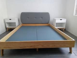 L´ ATELIERA 臥室床與床頭櫃 木頭 White