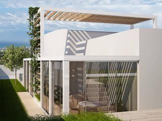 sistemazione esterna terrazzi, aree esterne attrezzate.: Terrazza in stile  di Simone Fratta Architetto