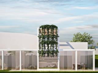 sistemazione esterna terrazzi, aree esterne attrezzate.: Giardino anteriore in stile  di Simone Fratta Architetto