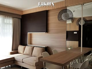 Likha Interior Salon minimaliste Contreplaqué Effet bois