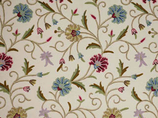 Vintage Floral Traditional Hand Embroidered Cotton Crewel Fabric by the Yard: asian  by Kashmir Valley Arts,Asian