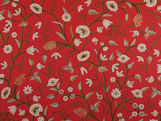 Vintage Floral Traditional Hand Embroidered Cotton Crewel Fabric by the Yard : asian  by Kashmir Valley Arts,Asian