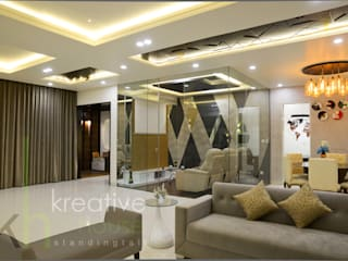 A sky villa with royalty and luxury KREATIVE HOUSE Living room Glass Grey