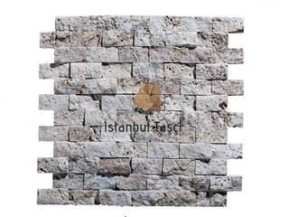 İSTANBUL TAŞÇI ® – Klasik Traverten 2,5x5 cm Fileli Patlatma Taş Mozaik:  tarz