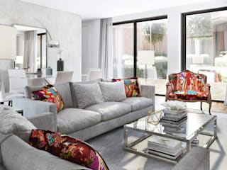 Salas de estar ecléticas por DZINE & CO, Arquitectura e Design de Interiores Eclético