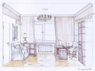 Эскиз кабинета в коттедже в стиле арт-деко:  в . Автор – STUDIO DESIGN КРАСНЫЙ НОСОРОГ