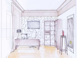 Эскиз кабинета коттеджа  в стиле артдеко:  в . Автор – STUDIO DESIGN КРАСНЫЙ НОСОРОГ