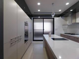 寬隆敦和侯宅:  置入式廚房 by 李正宇創意美學室內裝修設計有限公司