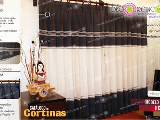 CORTINA Y SOBRE CAMA PARA HABITACIÓN :  de estilo  por DECORCINCO DISEÑO ARTESANAL TEXTIL; CORTINAS, COLCHAS, COJINES, MANTELES Y COMPLEMENTOS