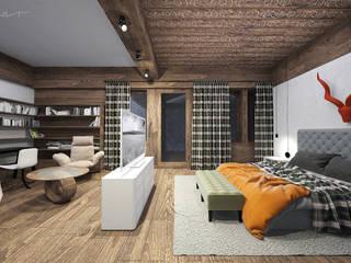 enki design Dormitorios de estilo rústico Madera Acabado en madera