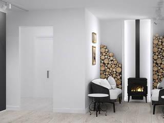 enki design Salas multimedia de estilo clásico Blanco