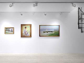 enki design Salas multimedia de estilo clásico Madera Blanco