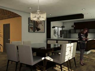 Casa Residencial CRC : Cocinas equipadas de estilo  por Bocetos Studio Aquitectos, Mediterráneo