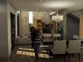 Casa Residencial CRC : Salas de estilo  por Bocetos Studio Aquitectos, Mediterráneo