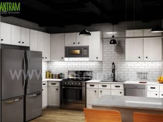 Modern Small Kitchen Design Ideas by Yantram 3d Interior Rendering Services - Berlin, Germany Yantram Architectural Design Studio Modern