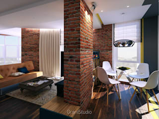 Уютный лофт: Гостиная в . Автор – GraniStudio
