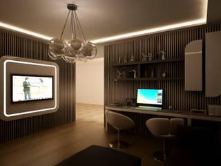 HEBART MİMARLIK DEKORASYON HZMT.LTD.ŞTİ. – Sinpaş lagün İris tip villa iç dekorasyonu: modern tarz Çalışma Odası