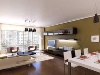 HEBART MİMARLIK DEKORASYON HZMT.LTD.ŞTİ. – Çekmeköy konut projesi: modern tarz Oturma Odası