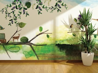 Tropical style offices & stores by House Frame Wallpaper & Fabrics Tropical