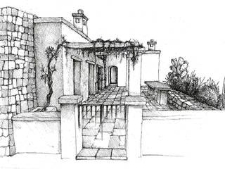 Schizzo di studio del prospetto principale:  in stile  di MGSO architetti