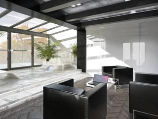 Domowe biuro z aneksem wypoczynkowym: styl , w kategorii Ogród zimowy zaprojektowany przez OptionSTUDIO Projektowanie wnętrz