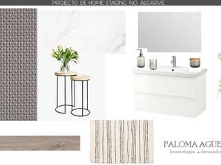 Moodboard de casa de banho em apartamento para turismo de habitação: Casas de banho escandinavas por Paloma Agüero Design
