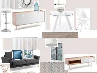 Moodboard de sala em apartamento para turismo de habitação: Salas de estar escandinavas por Paloma Agüero Design